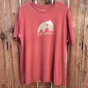 Patagonia Orange Red Eat Local T Shirt STAINS
